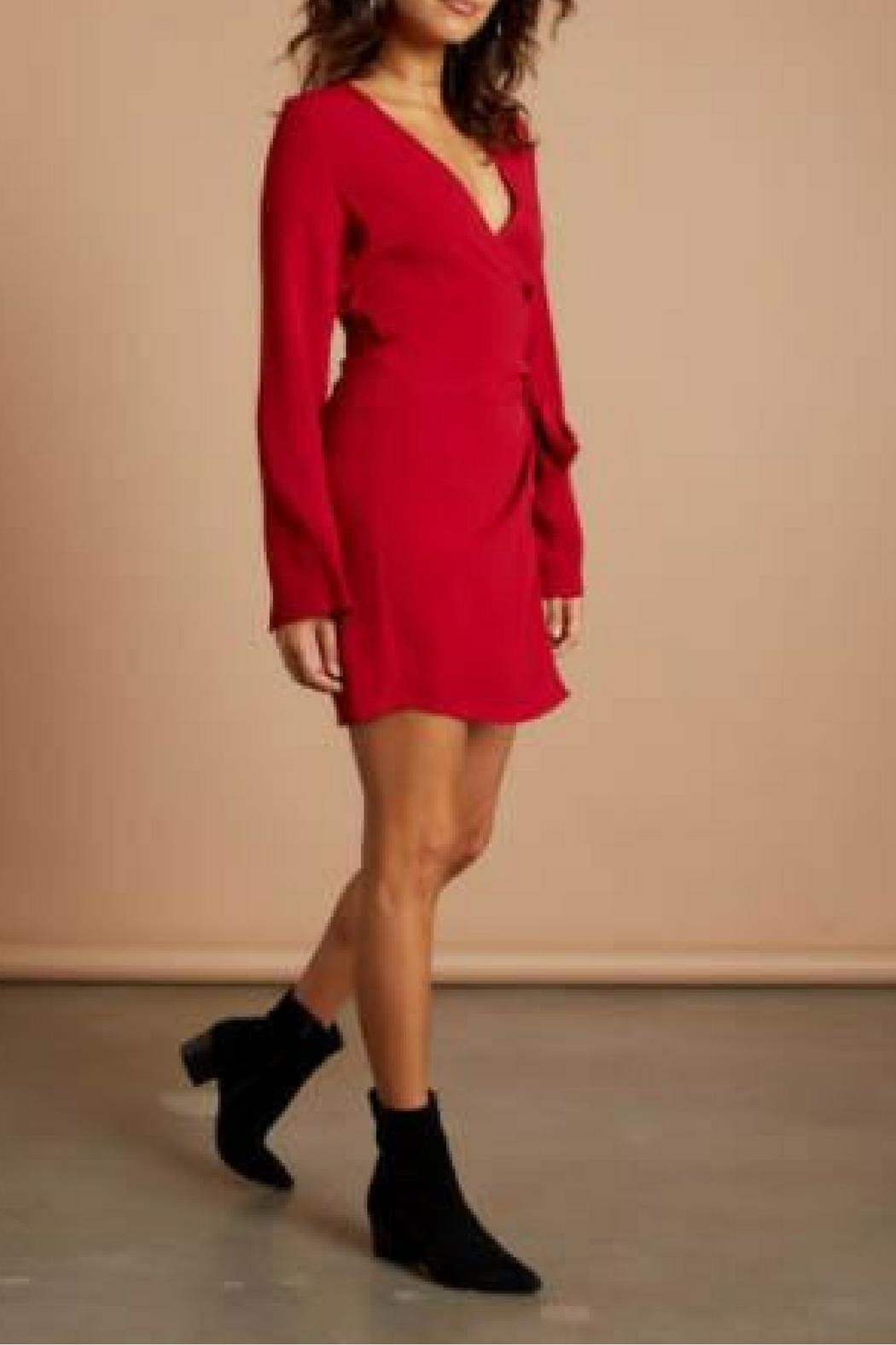 Cotton Candy LA Red Wrap Dress - Front Full Image
