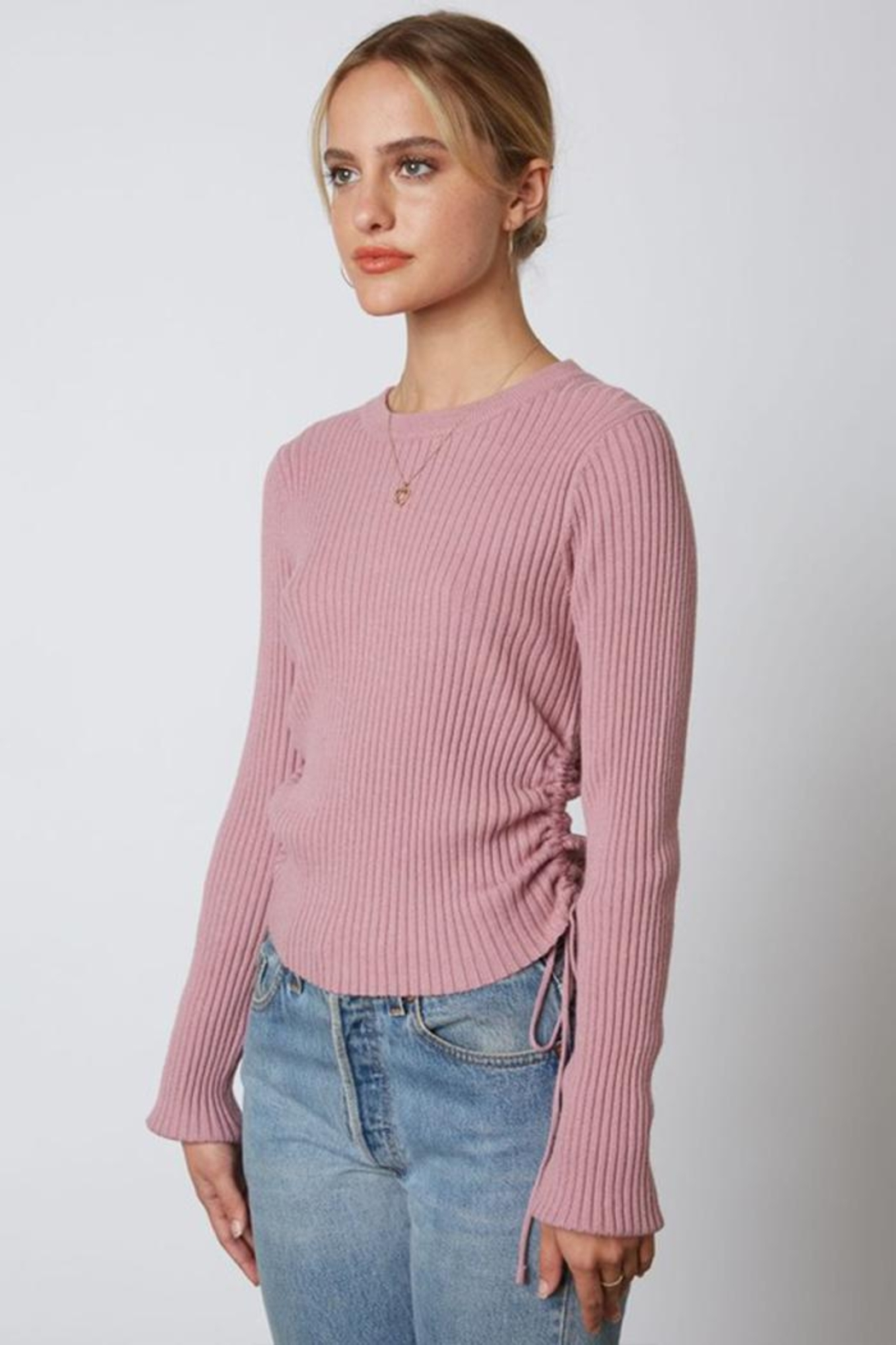 Cotton Candy LA Ribbed Cinched Sweater - Front Full Image