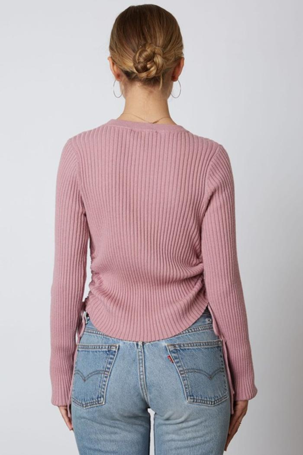 Cotton Candy LA Ribbed Cinched Sweater - Side Cropped Image