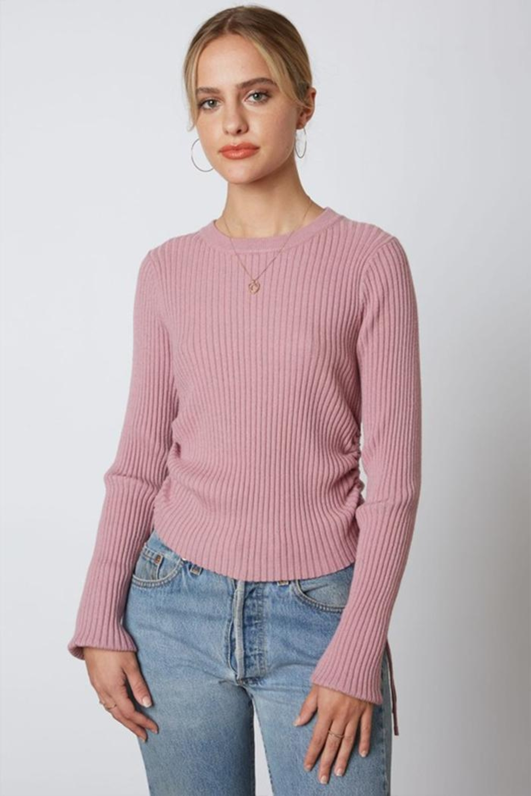 Cotton Candy LA Ribbed Cinched Sweater - Main Image