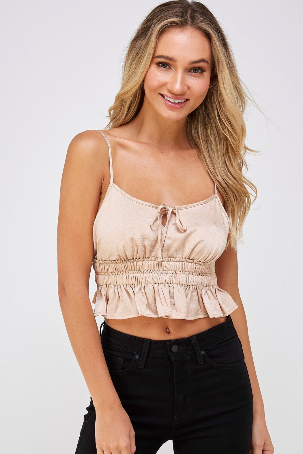 Cotton Candy LA Satin Crop Top - Front Full Image