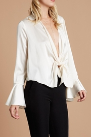 Cotton Candy LA Satin Tie-Front Blouse - Front full body