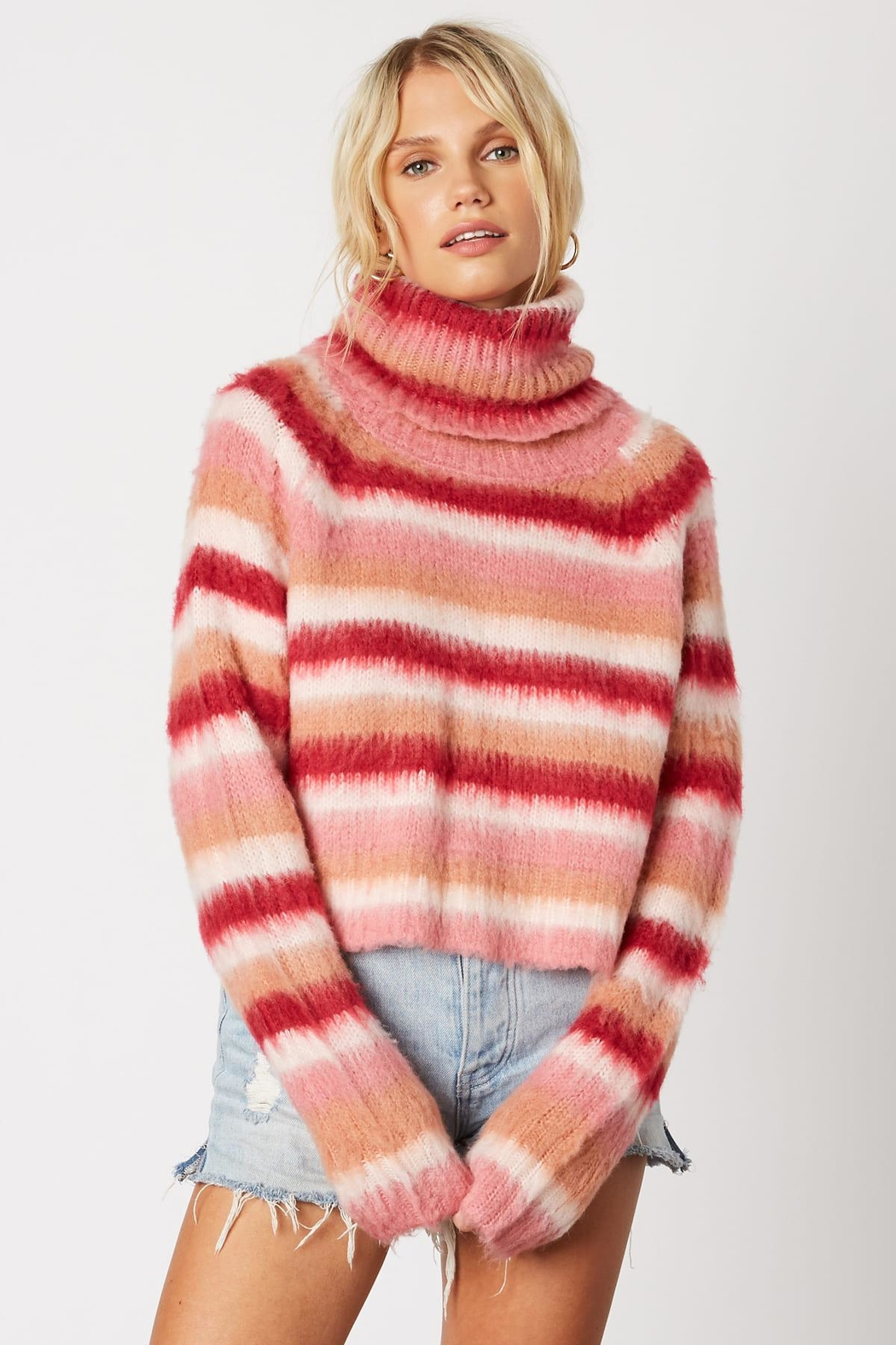 Cotton Candy LA Striped Pink Sweater - Front Cropped Image