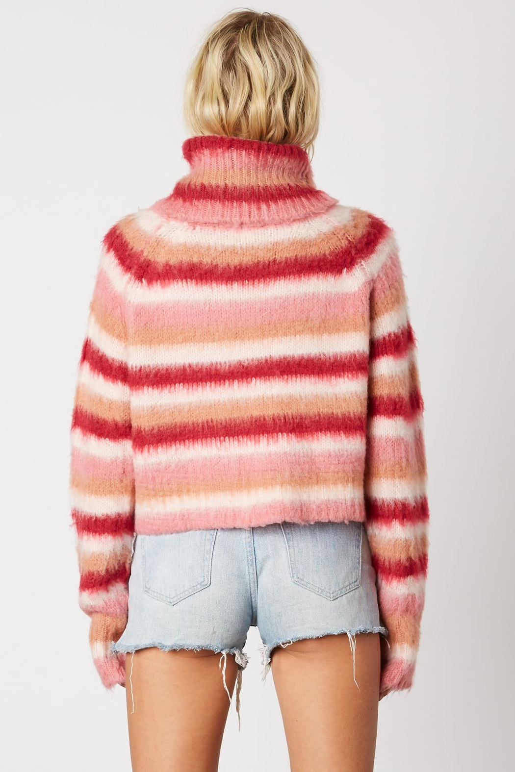 Cotton Candy LA Striped Pink Sweater - Front Full Image