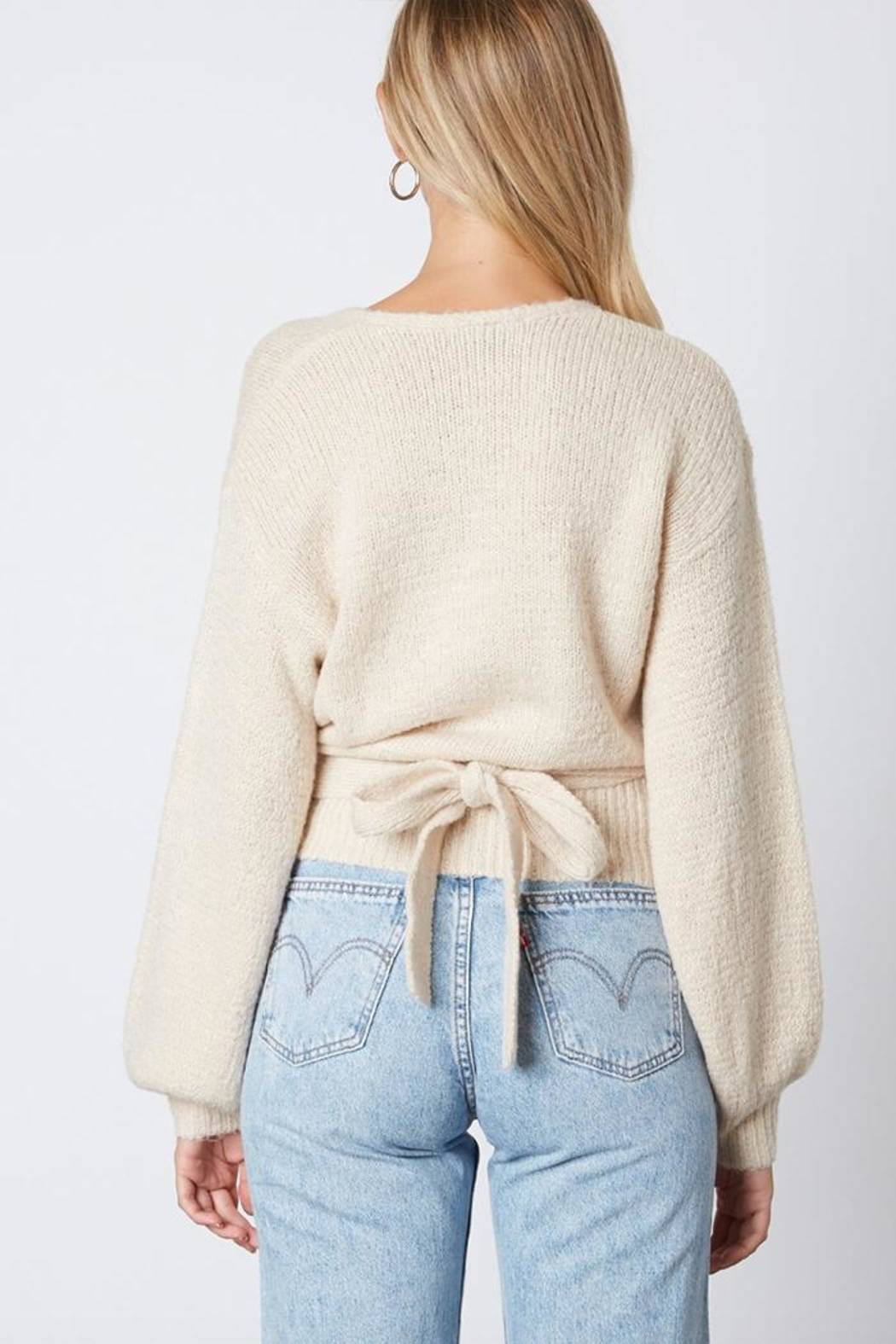 Cotton Candy LA Tie Back Sweater - Side Cropped Image