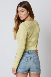 Cotton Candy LA Yellow Cropped Seweater - Front full body
