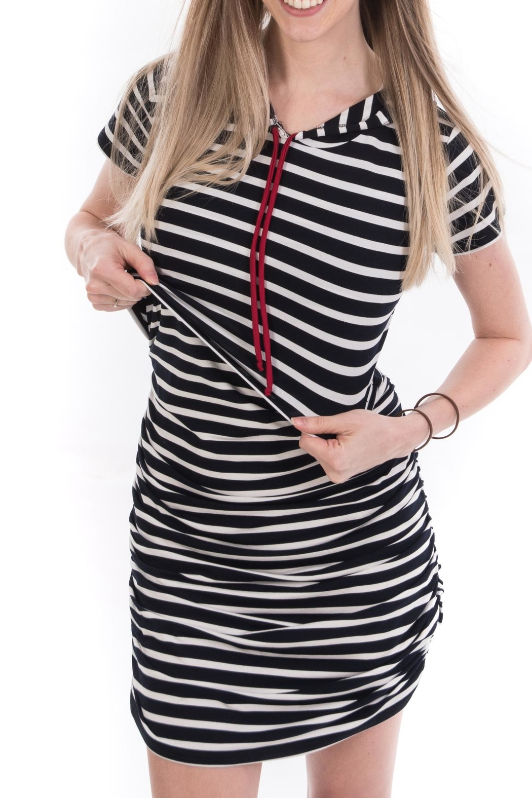 Bellybedaine Coucou Stripe Dress - Back Cropped Image