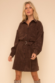 Hem and Thread Courtney Belted Corduroy Dress - Front cropped