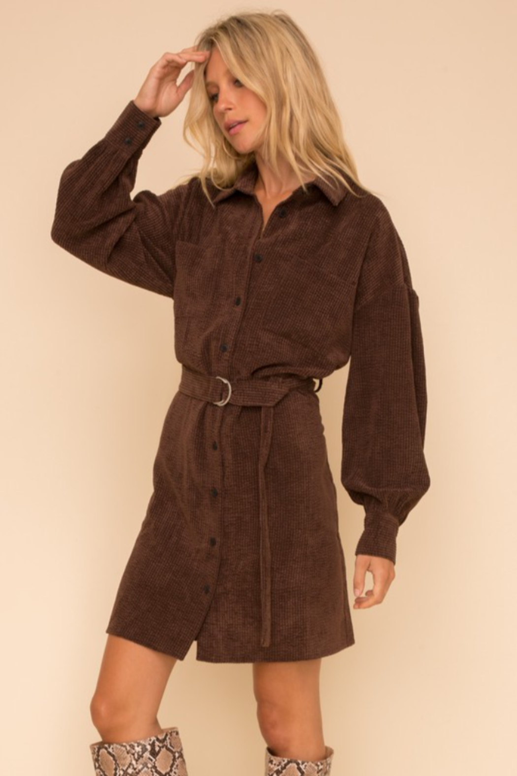 Hem and Thread Courtney Belted Corduroy Dress - Front Full Image