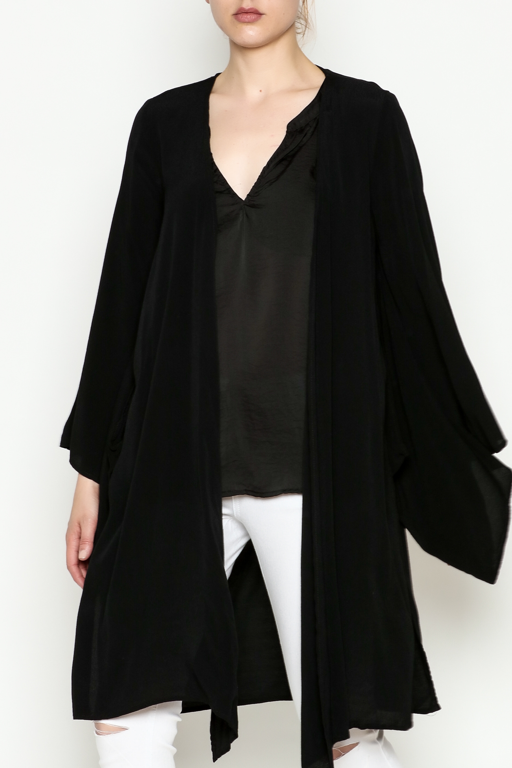 Cousin Earl Black Bell Sleeve Kimono - Front Cropped Image