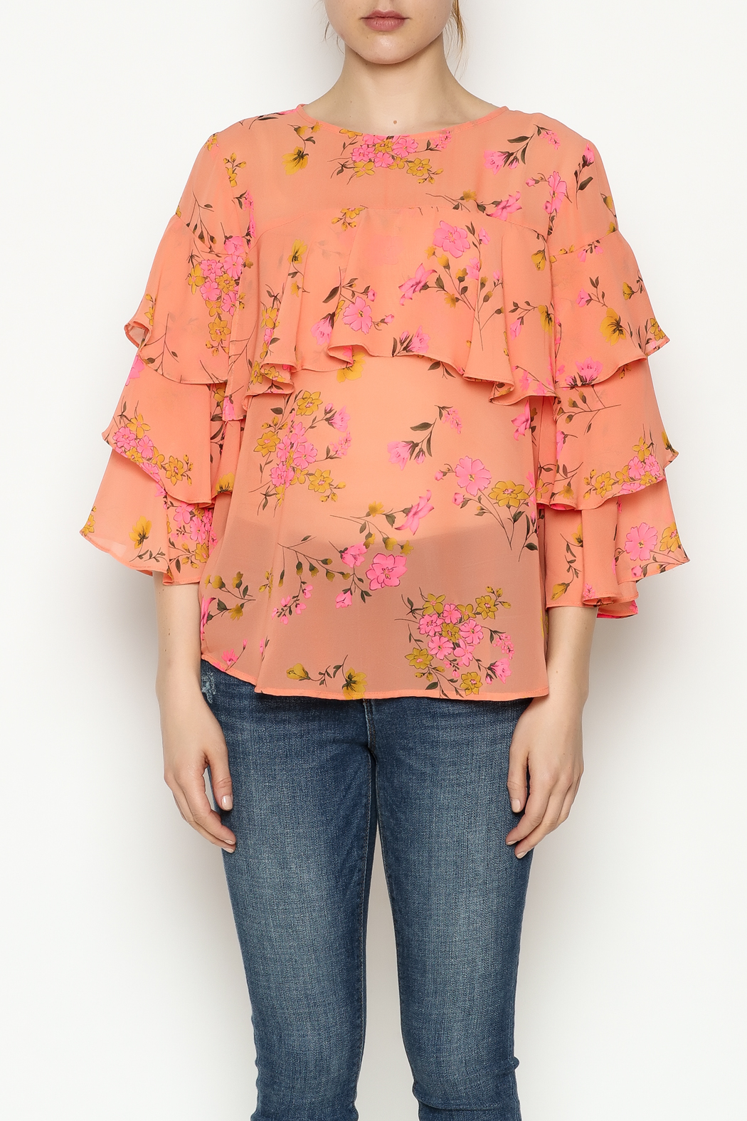 Cousin Earl Peach Floral Top - Front Full Image
