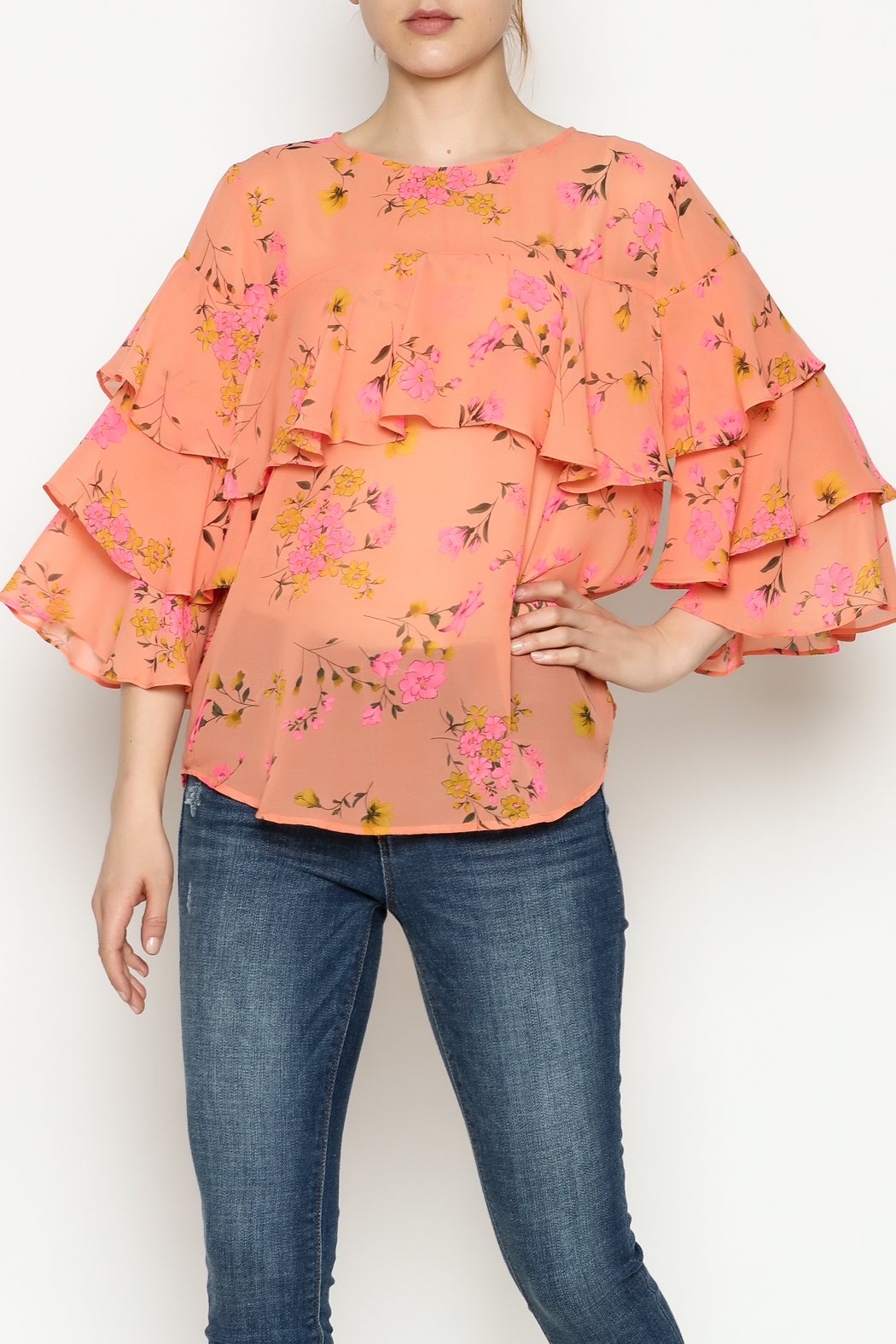 Cousin Earl Peach Floral Top - Front Cropped Image