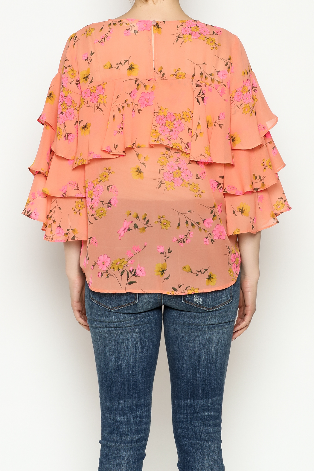Cousin Earl Peach Floral Top - Back Cropped Image
