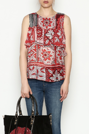 Cousin Earl Red Floral Shoulder Top - Product Mini Image