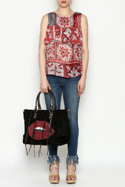 Cousin Earl Red Floral Shoulder Top - Front full body