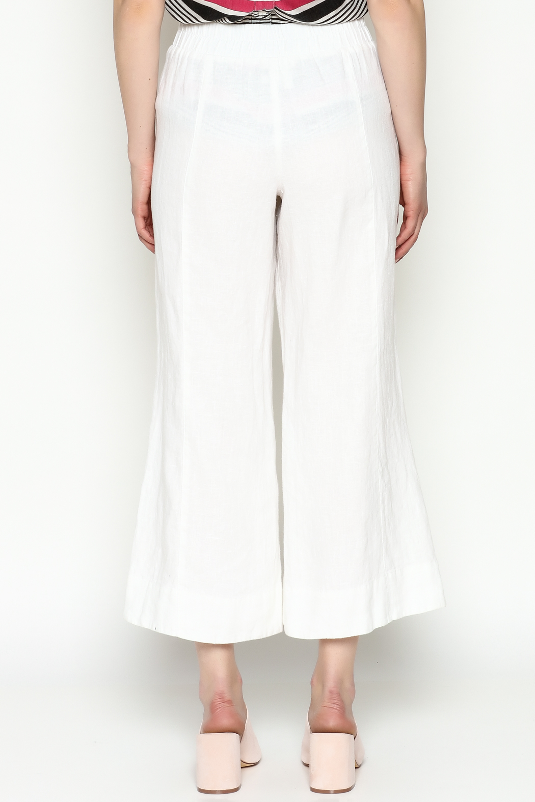 Cousin Earl White Linen Pants - Back Cropped Image