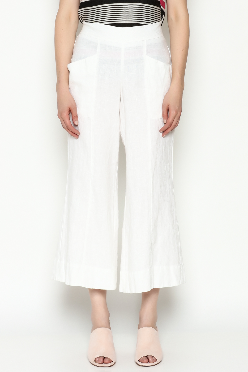 Cousin Earl White Linen Pants - Front Full Image