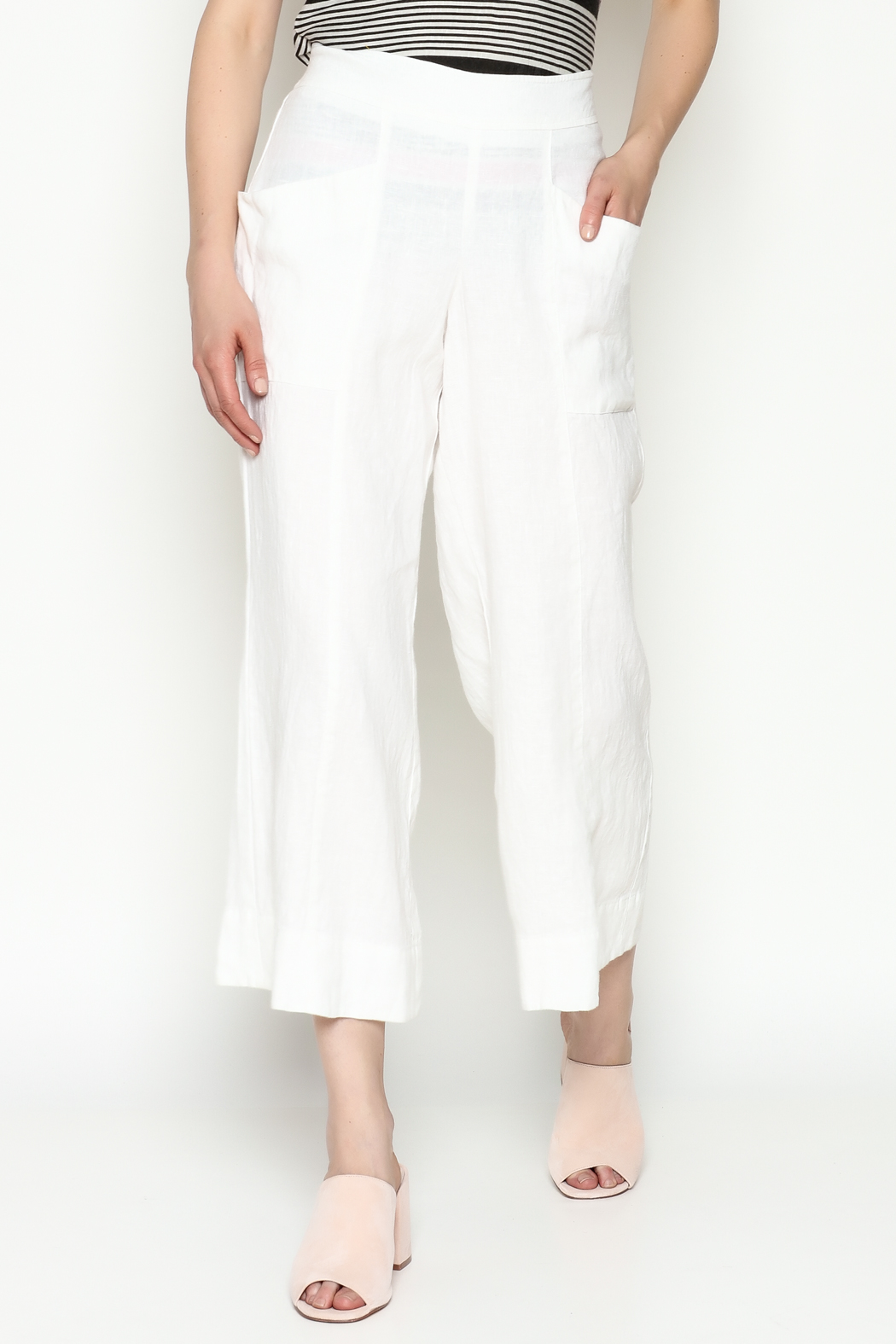 Cousin Earl White Linen Pants - Front Cropped Image