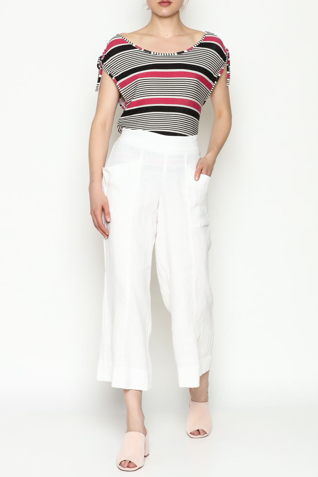 Cousin Earl White Linen Pants - Side Cropped Image