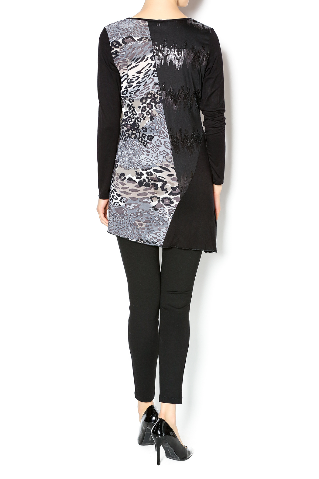 Cover Charge Black Leopard Tunic - Side Cropped Image