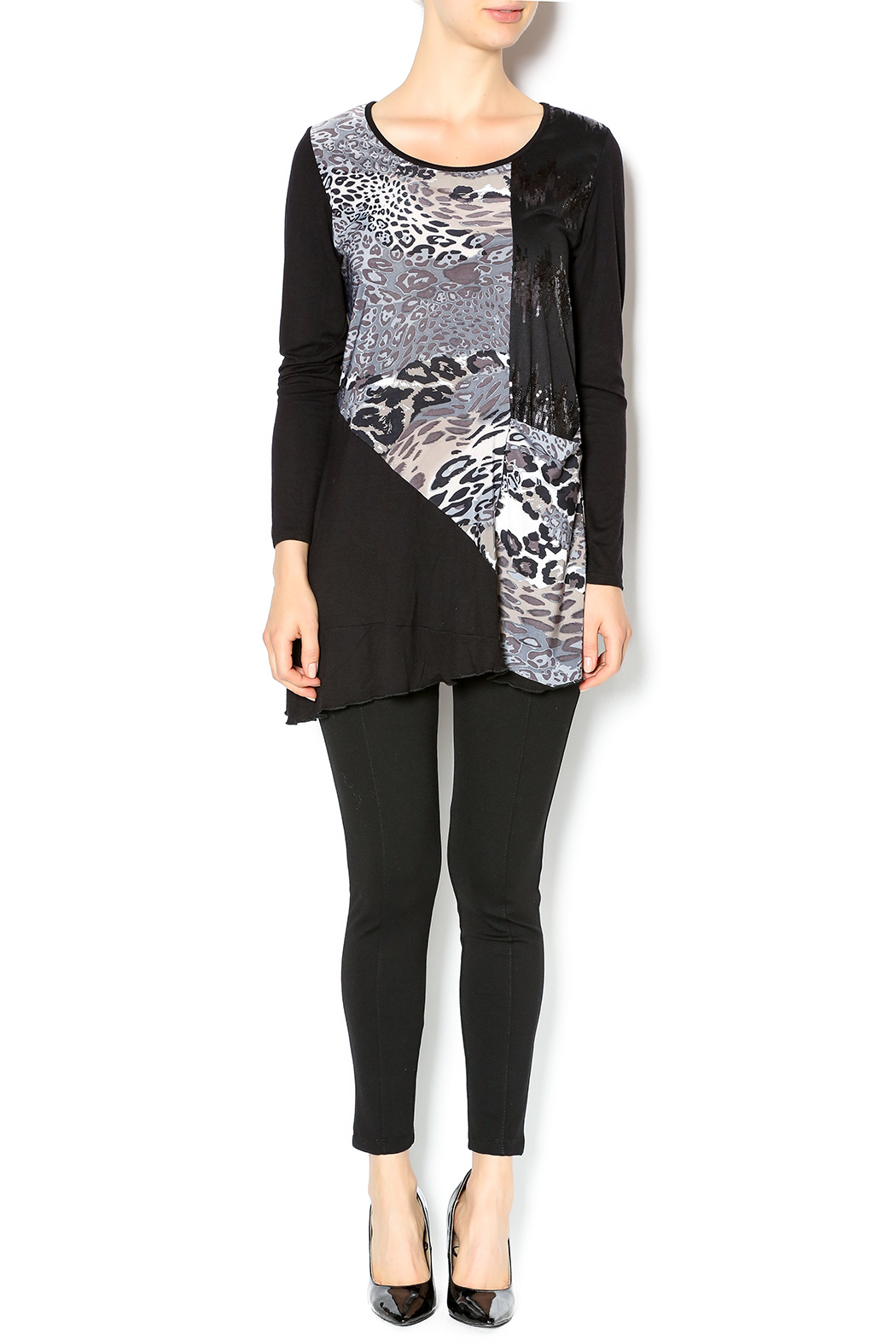 Cover Charge Black Leopard Tunic - Front Full Image