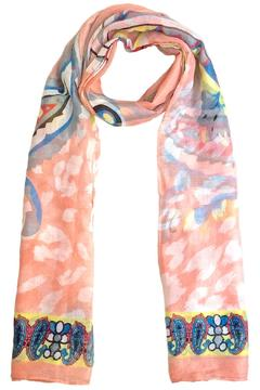 Coveri Collection Sheer Peach Pattern Scarf - Alternate List Image