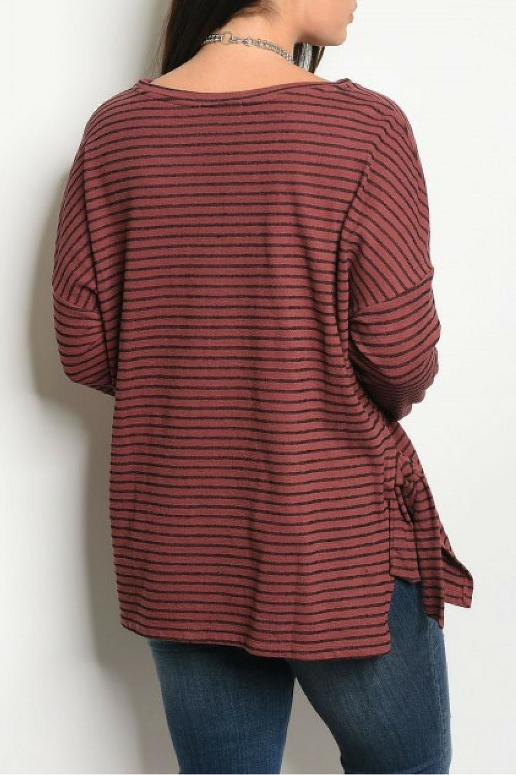 COVERSTITCHED Burgundy Stripe Top - Front Full Image