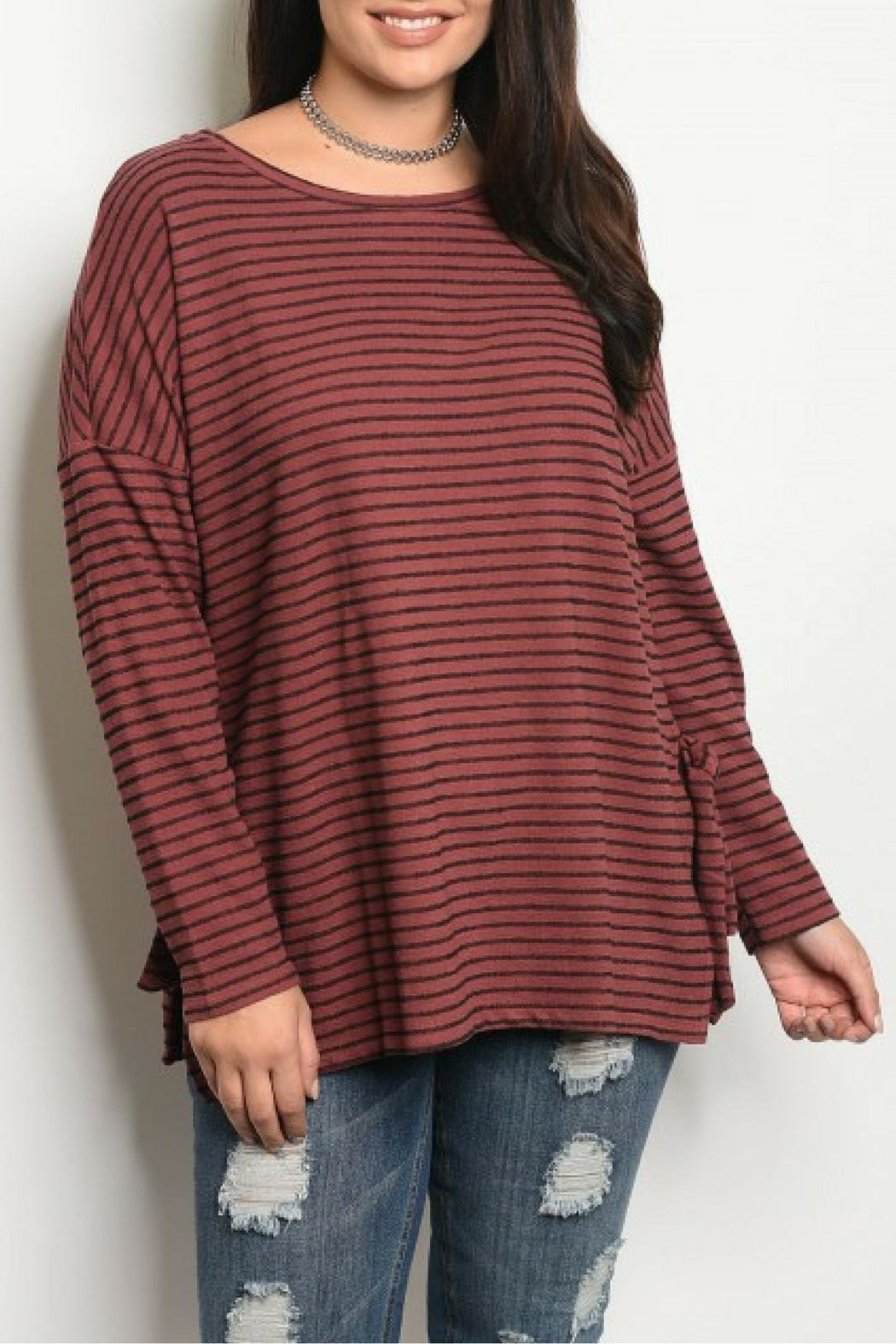 COVERSTITCHED Burgundy Stripe Top - Main Image