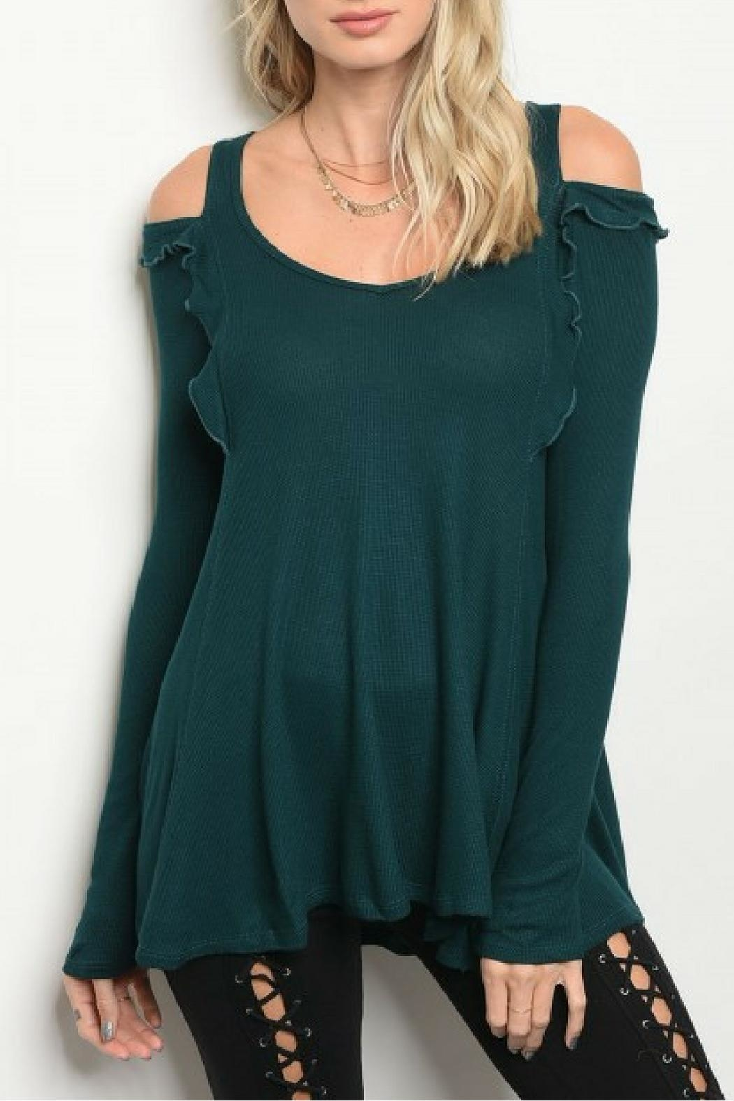 COVERSTITCHED Hunter Green Top - Main Image