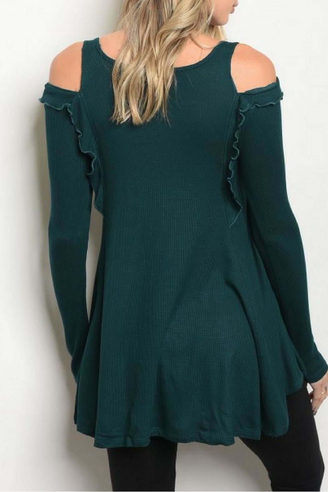 COVERSTITCHED Hunter Green Top - Front Full Image