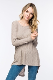 COVERSTITCHED Ribbed Hi-Lo Top - Front full body