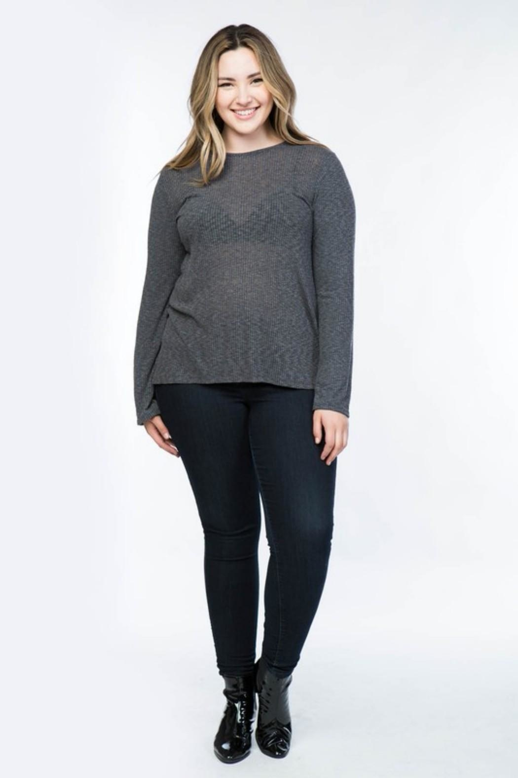 COVERSTITCHED Ribbed Hi-Lo Top - Front Cropped Image
