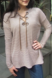 COVERSTITCHED Thermal Stripe Top - Front cropped