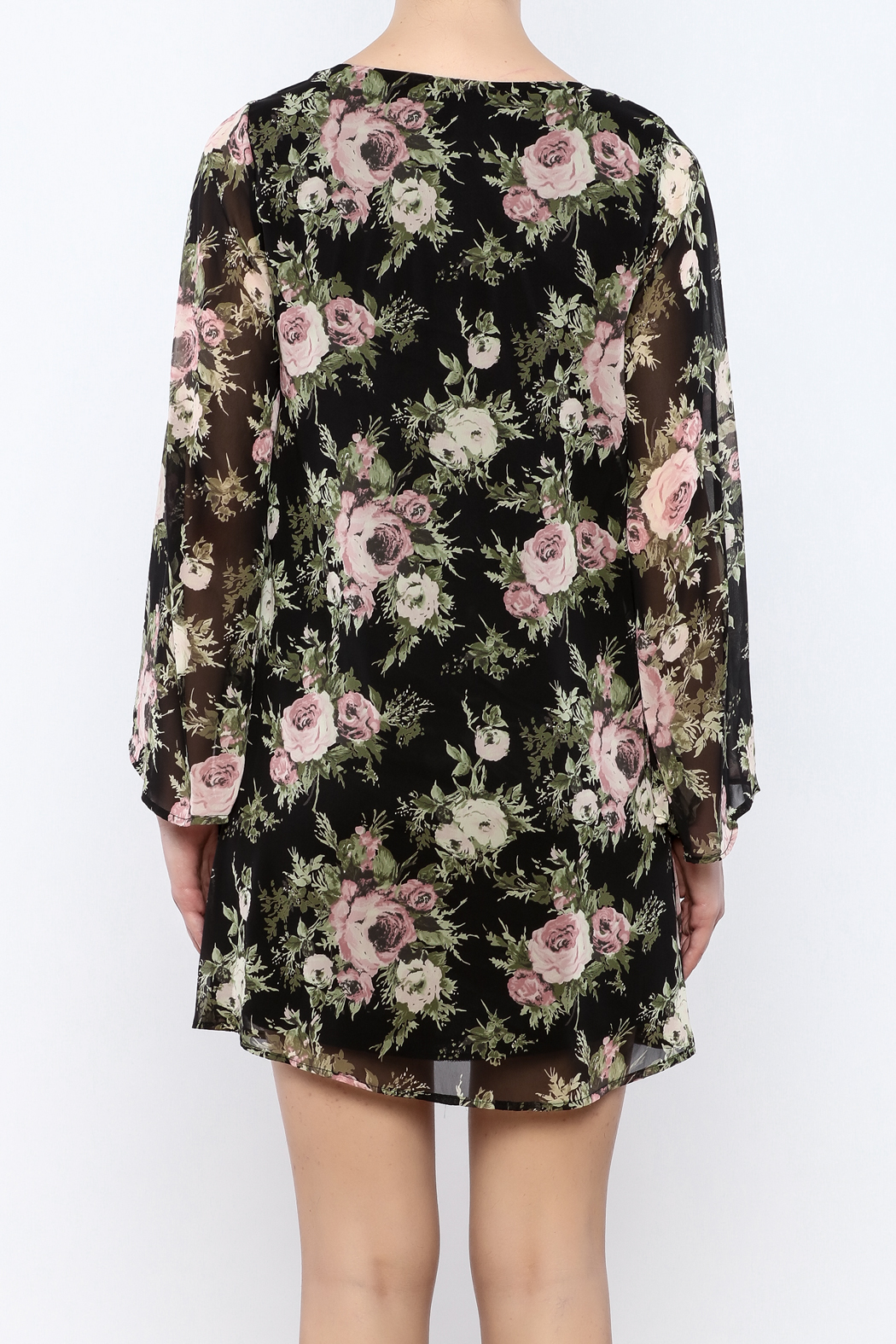 Coveted Clothing Black Floral Dress - Back Cropped Image