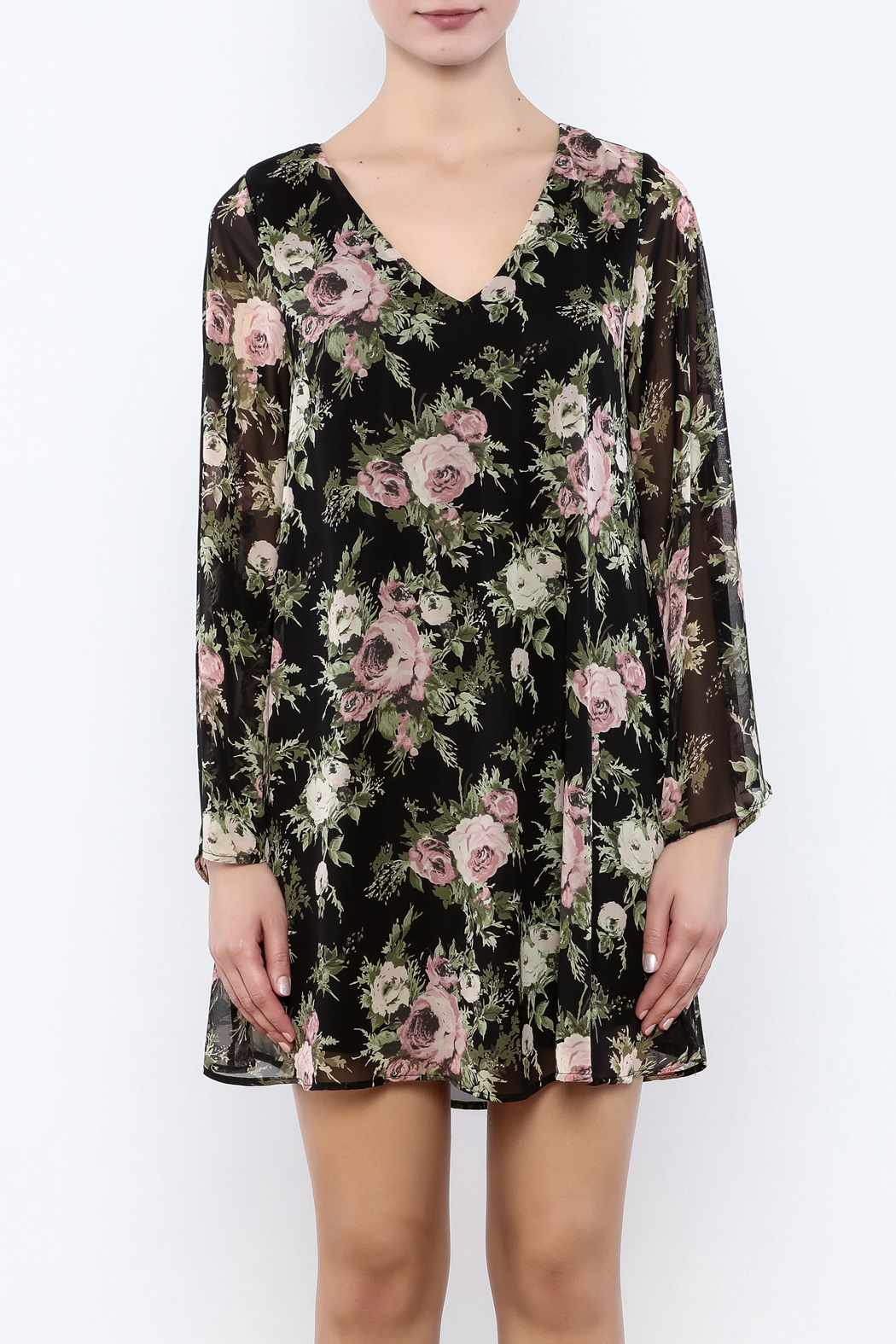 Coveted Clothing Black Floral Dress - Side Cropped Image