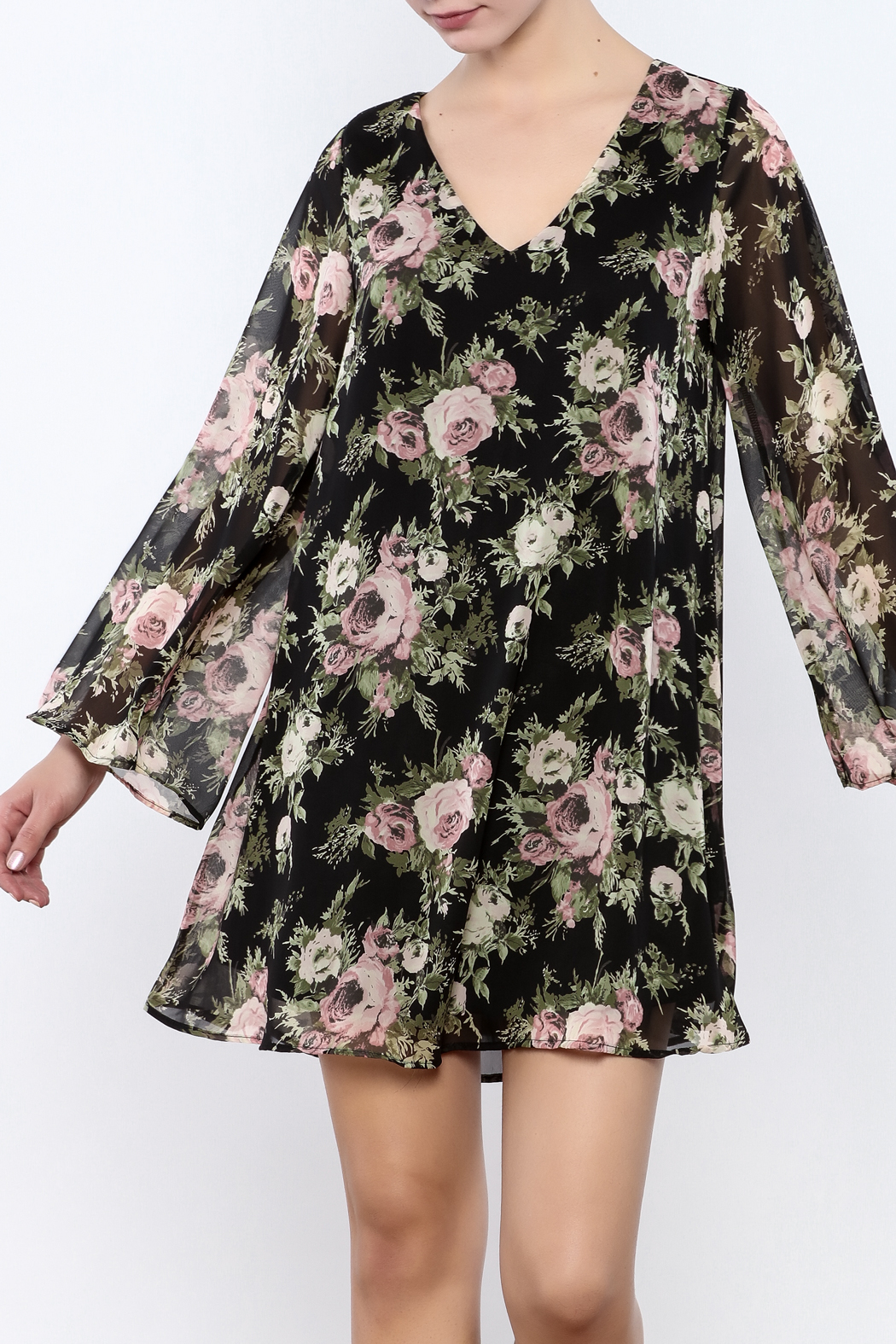 Coveted Clothing Black Floral Dress - Main Image