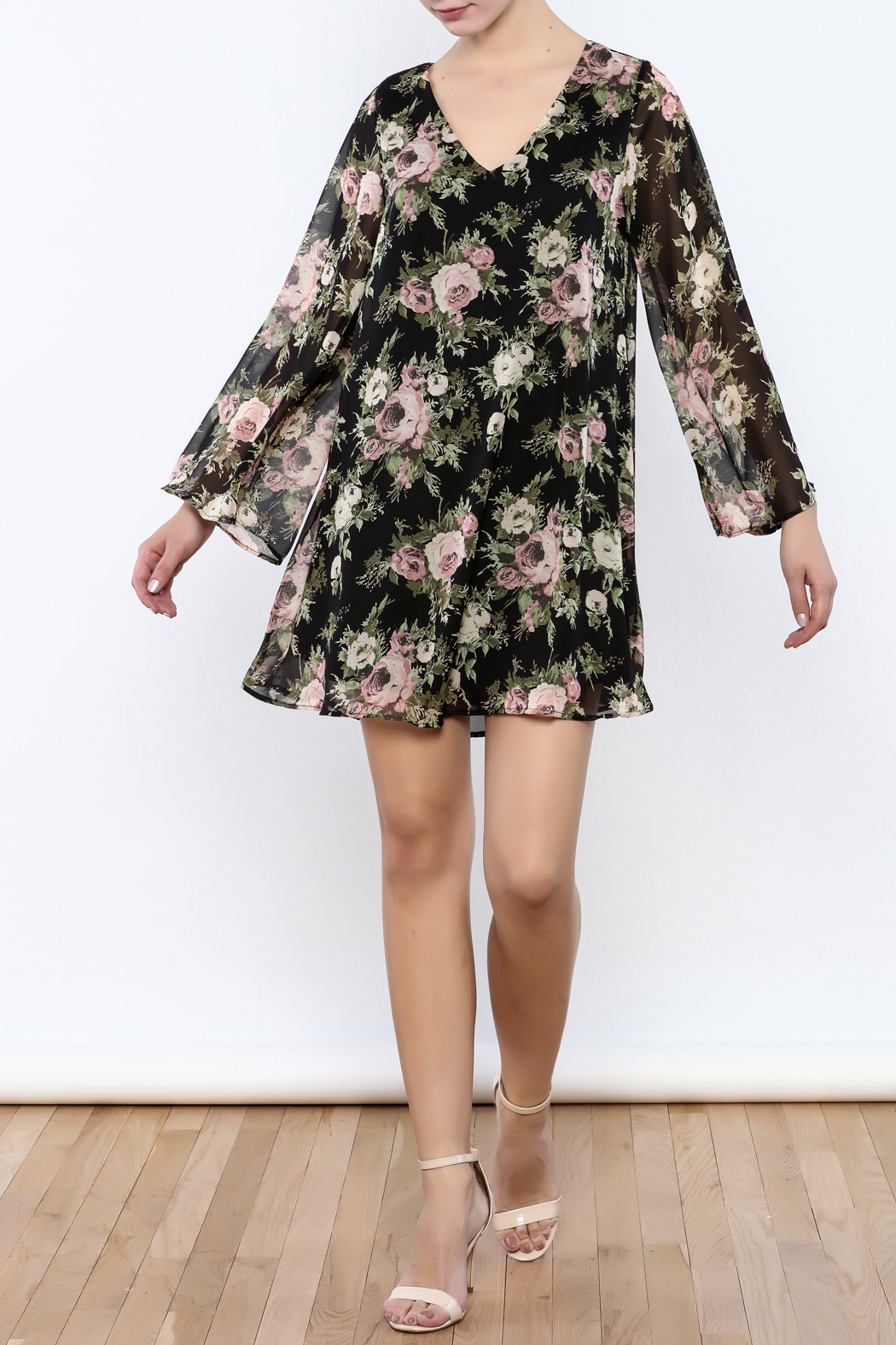 Coveted Clothing Black Floral Dress - Front Full Image