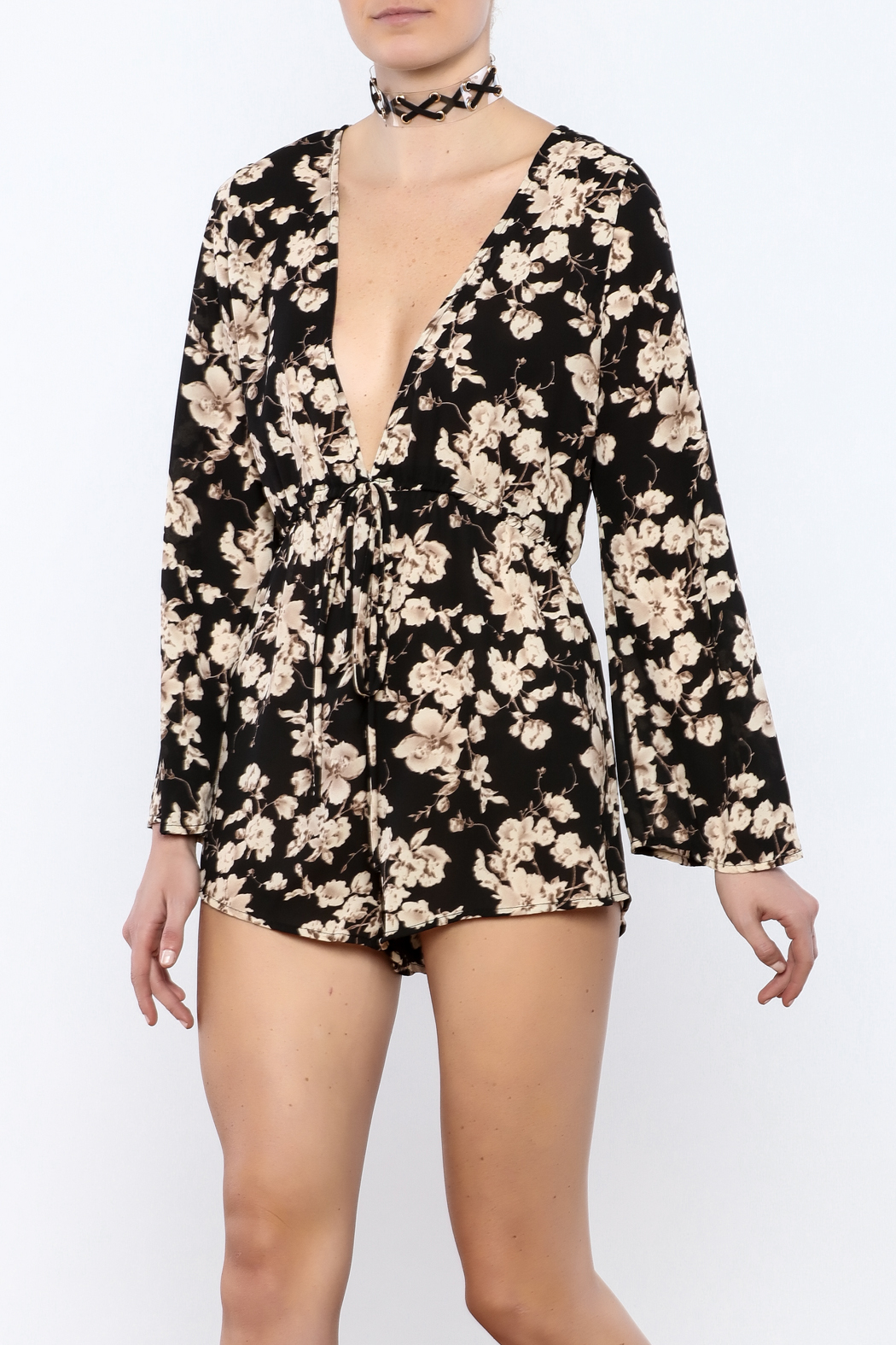Coveted Clothing Black Floral Romper - Main Image