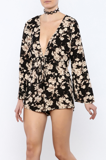 Shoptiques Product: Black Floral Romper - main