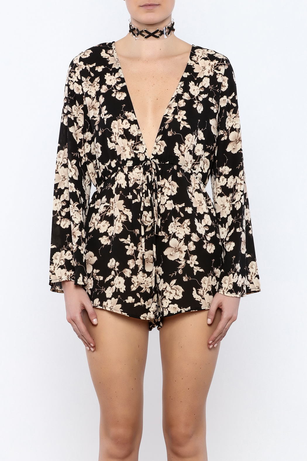 Coveted Clothing Black Floral Romper - Side Cropped Image