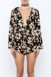 Shoptiques Product: Black Floral Romper - Side cropped