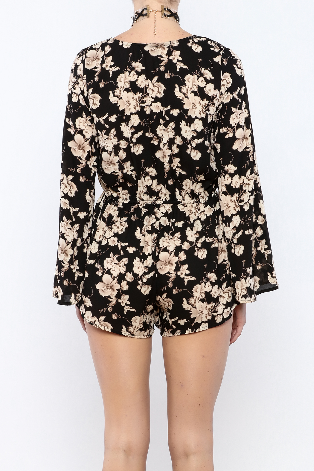 Coveted Clothing Black Floral Romper - Back Cropped Image