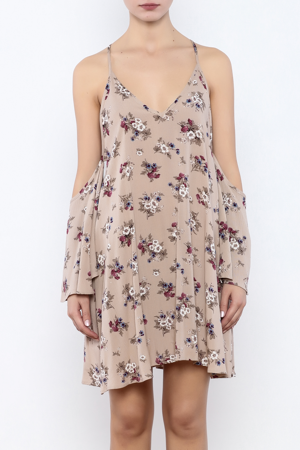 Coveted Clothing Cold Shoulder Dress - Side Cropped Image