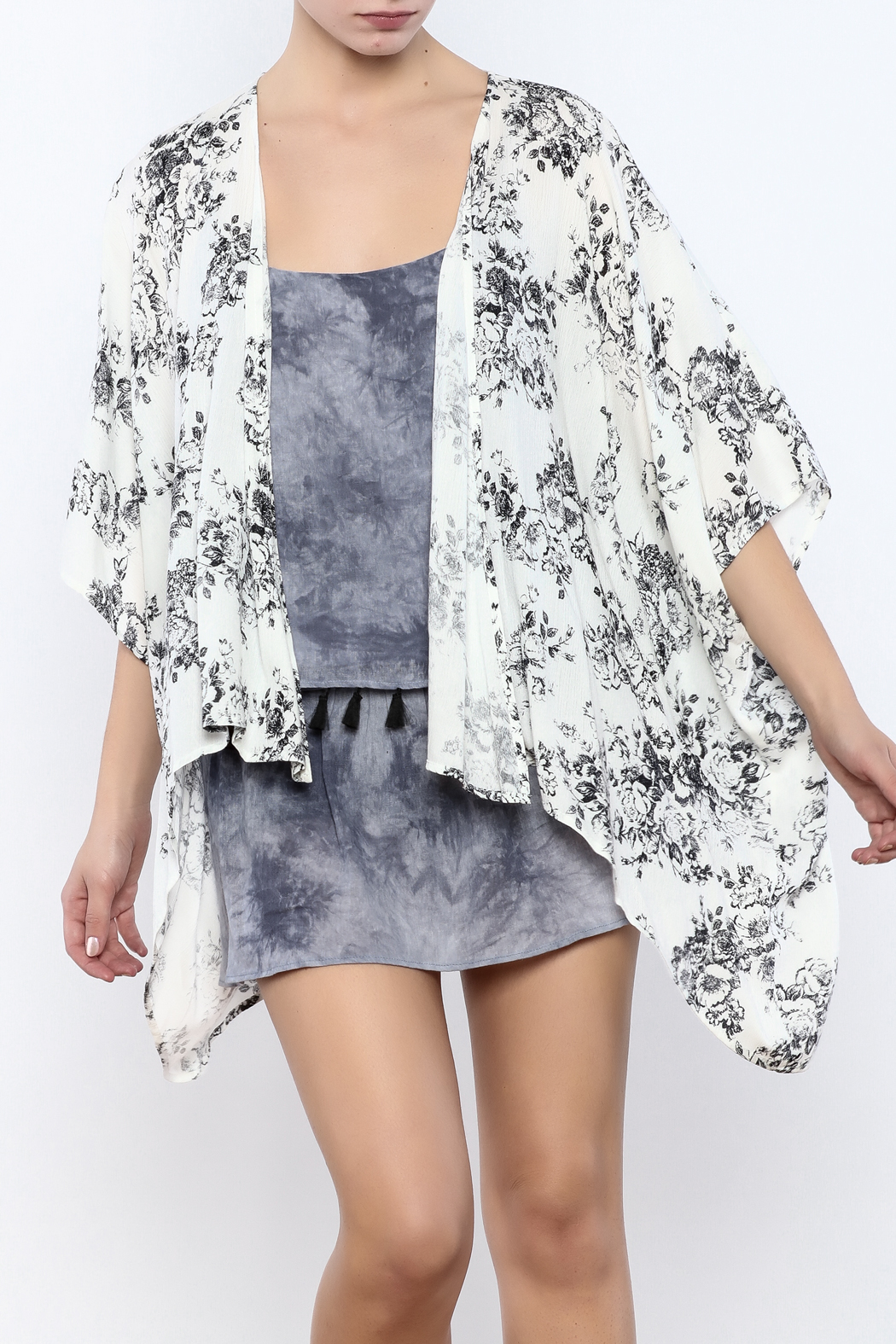 Coveted Clothing Floral Kimono - Front Cropped Image