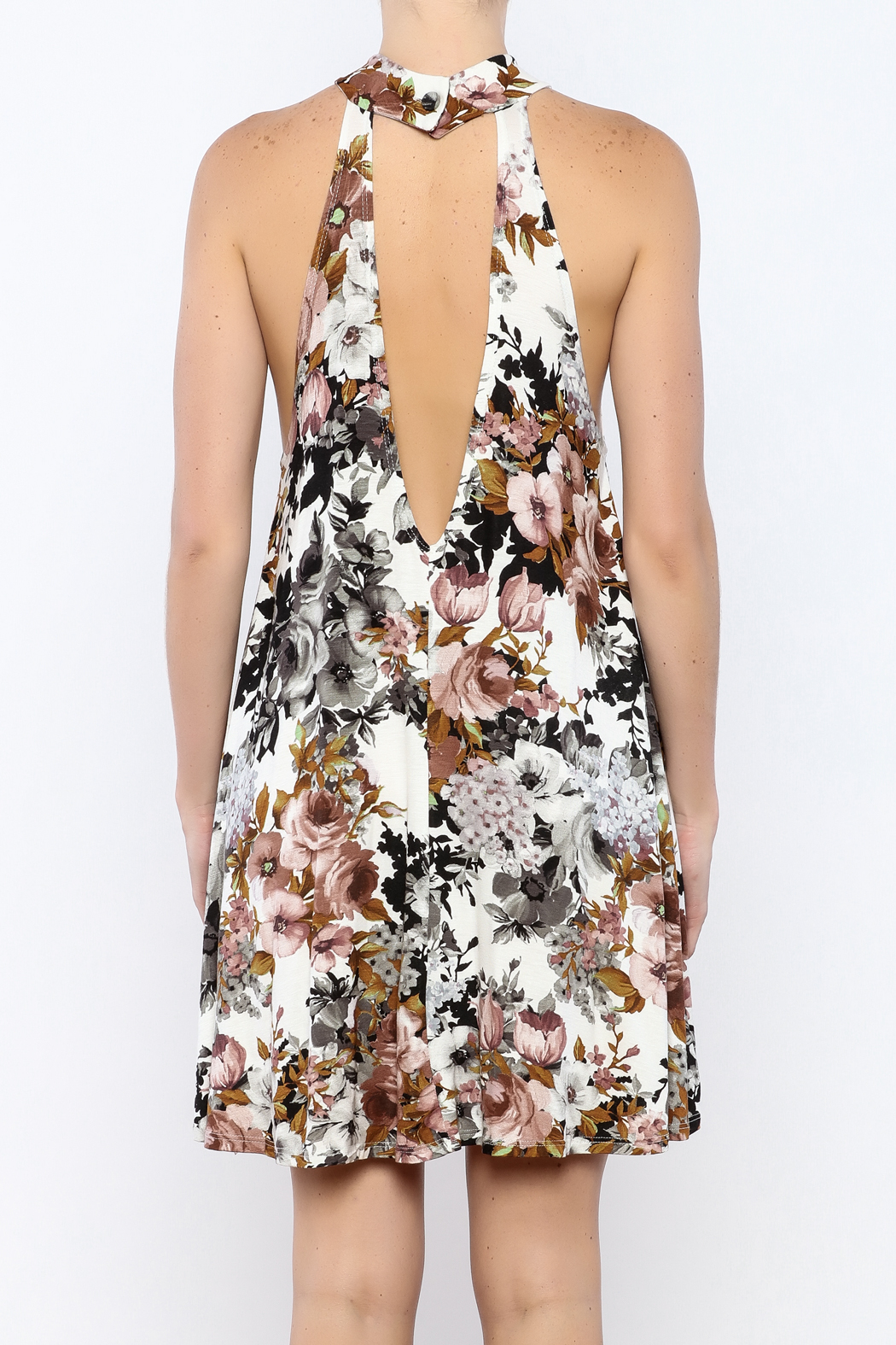 Coveted Clothing Floral A-line Dress - Back Cropped Image