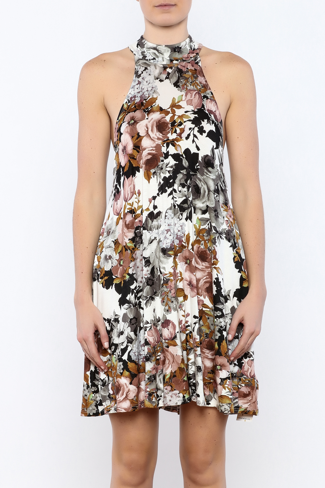 Coveted Clothing Floral A-line Dress - Side Cropped Image
