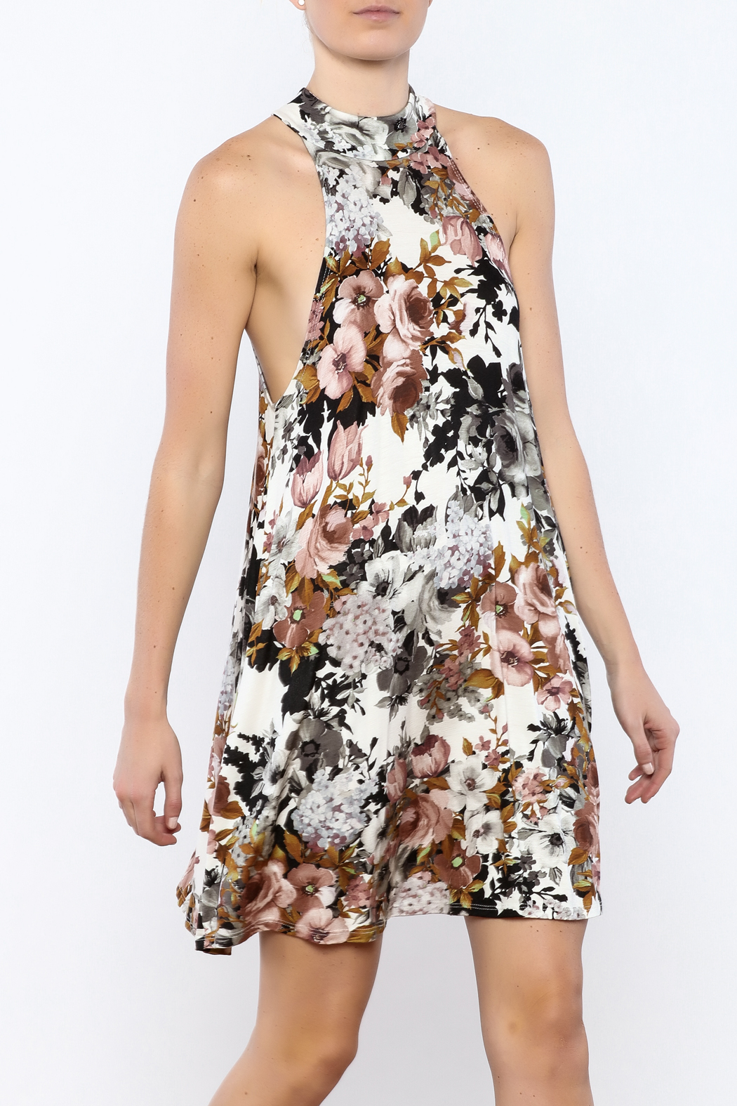 Coveted Clothing Floral A-line Dress - Front Cropped Image