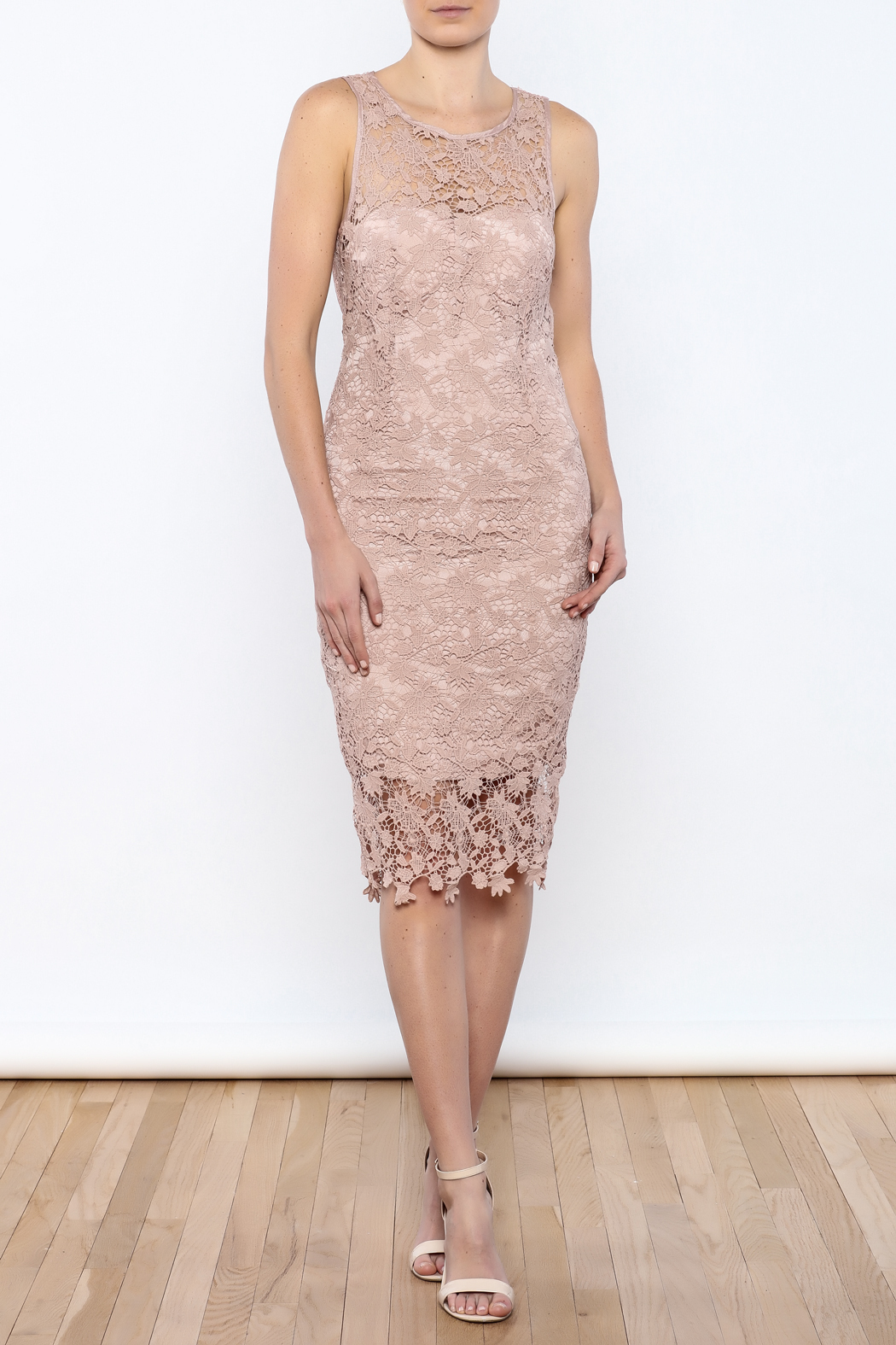 Coveted Clothing Lace Midi Dress - Front Full Image