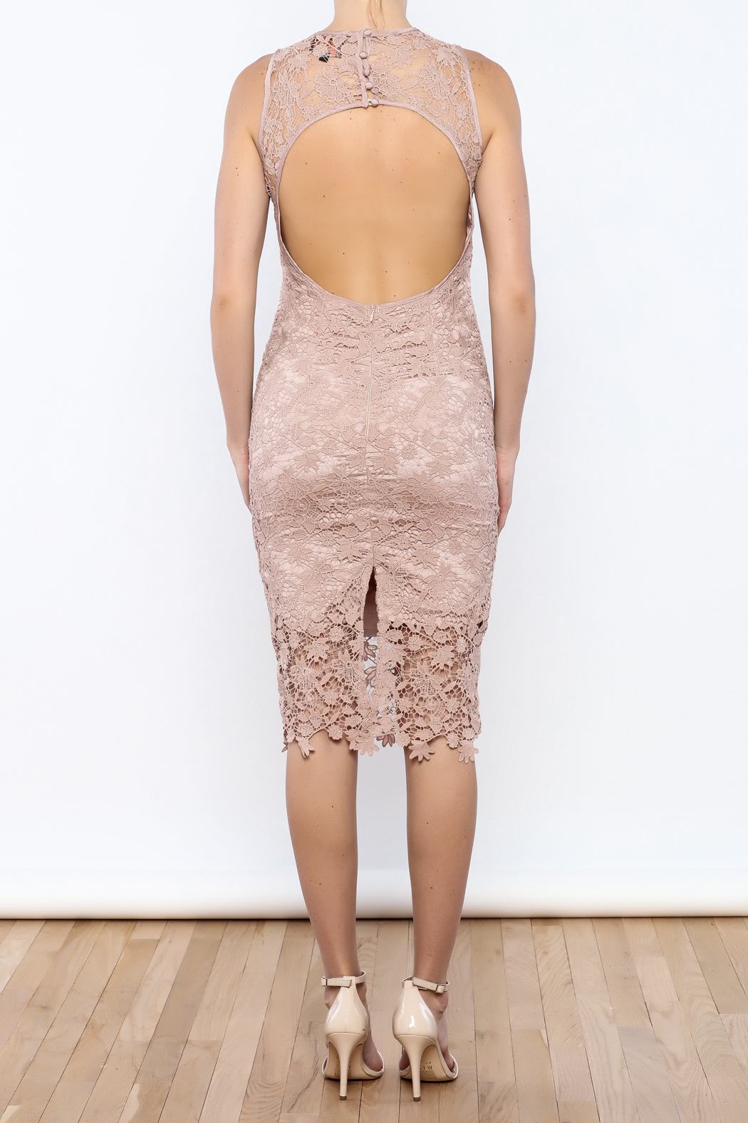 Coveted Clothing Lace Midi Dress - Back Cropped Image