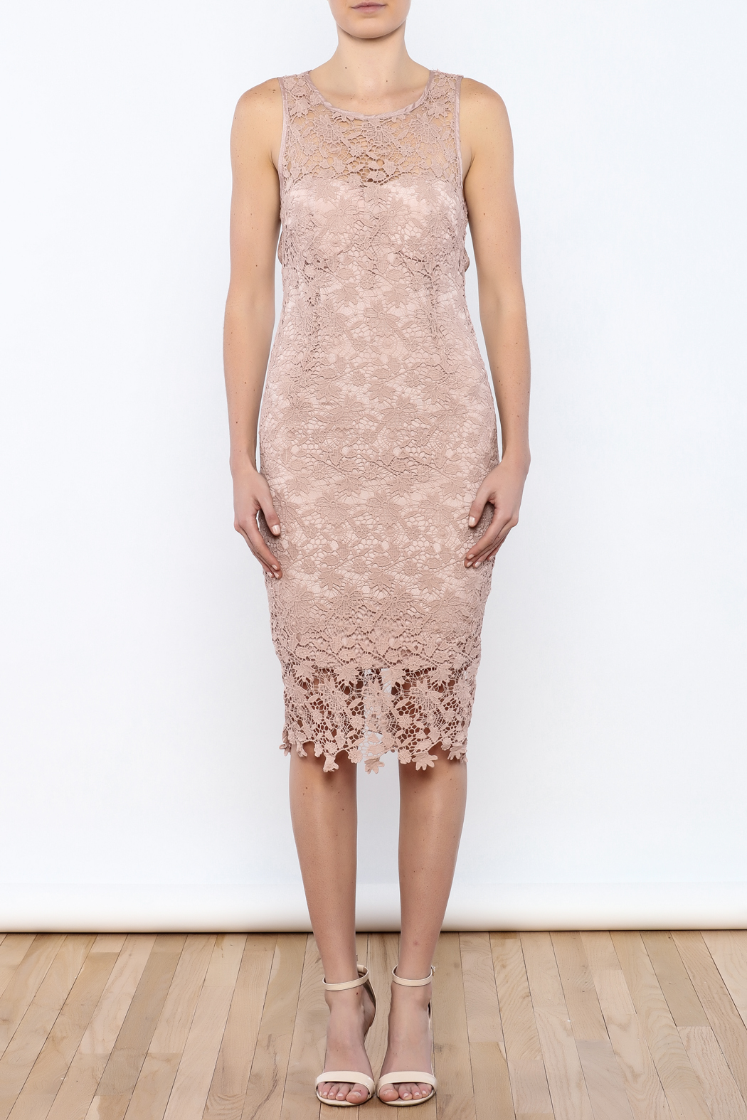 Coveted Clothing Lace Midi Dress - Front Cropped Image